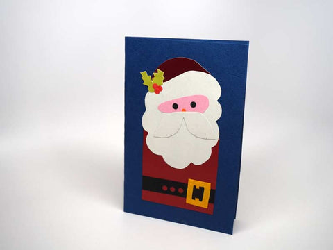 Christmas card - handmade Santa blue