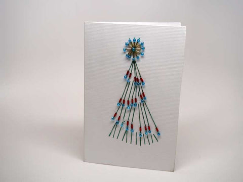 Christmas card - handmade beads tree