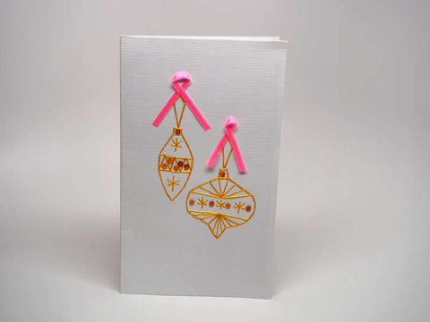Christmas card - handmade embroidered decorations