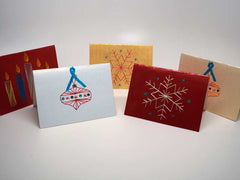 5 assorted small Christmas cards with handmade embroidery