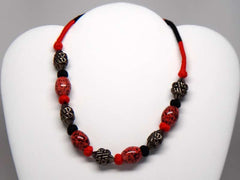 Necklace crafted by North India artisans - Red