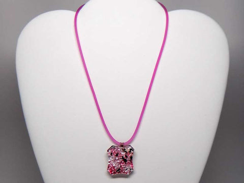 Kolourful glass pendant necklace - pink