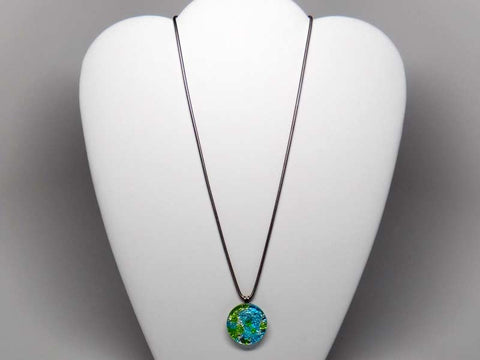 Kolourful glass pendant necklace - blue & green