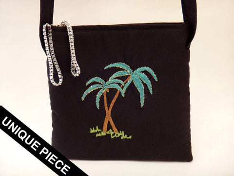 Palm trees handmade embroidery shoulder bag