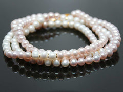 Real pearls necklace - two strands white & rose
