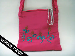 Strawberry Pink handmade embroidery shoulder bag