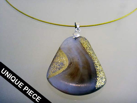 Hand-painted stone pendant necklace