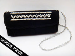 Velvet Pochette with indian handmade beadwork