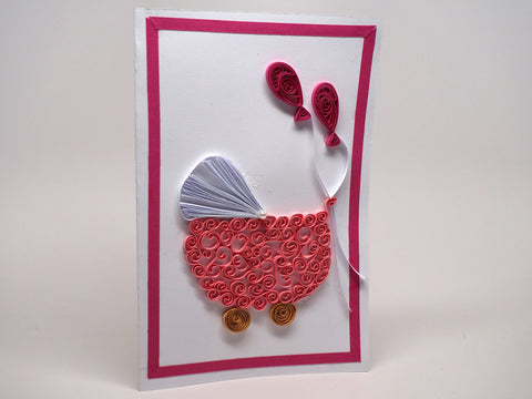 Paper filigree handmade Baptism/new born baby girl card