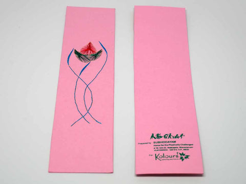 Pink bookmark with embroidered flower