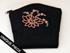 Lotus flower handmade embroidery case