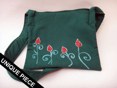 Floral shoulder bag with handmade embroidery