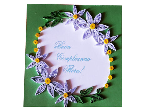 Personalized paper filigree handmade card with your name