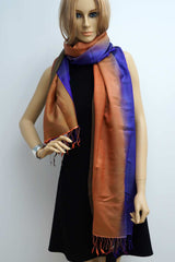 Silk shawl bicolor blue and orange