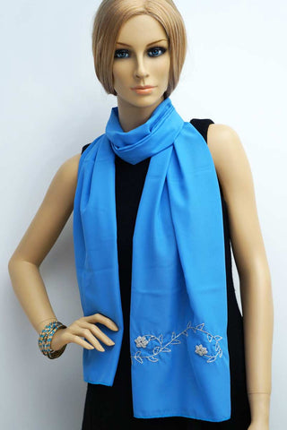 Metal thread embroidery handmade scarf