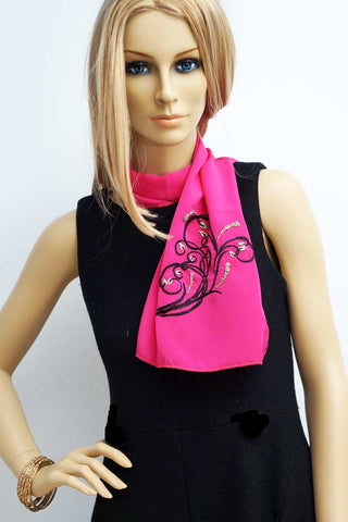 Hand embroidered magenta foulard