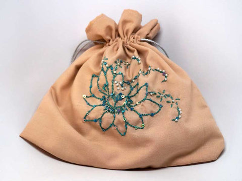 Cipria color large pouch with handmade embroidered lotus flower