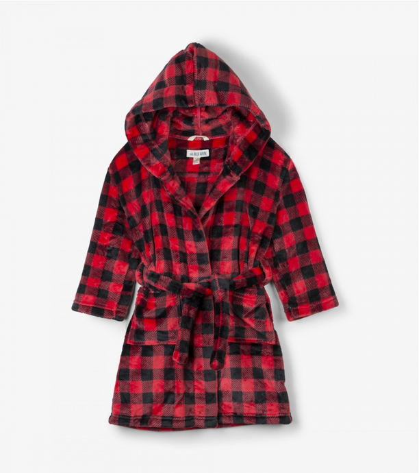 Buffalo Plaid Fleece Robe for Adults or Kids