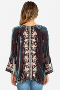 Johnny Was Marushka Velvet Flare Sleeve Top