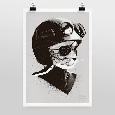 Cat Racer Print by Hidden Moves