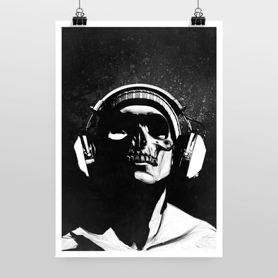 Skull and Headphones 2 Print by Hidden Moves
