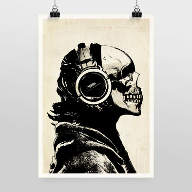 Skull and Headphones Print by Hidden Moves