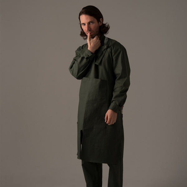 COVERED APRON [BLACK/CAMEL/OLIVE/KAHKI]