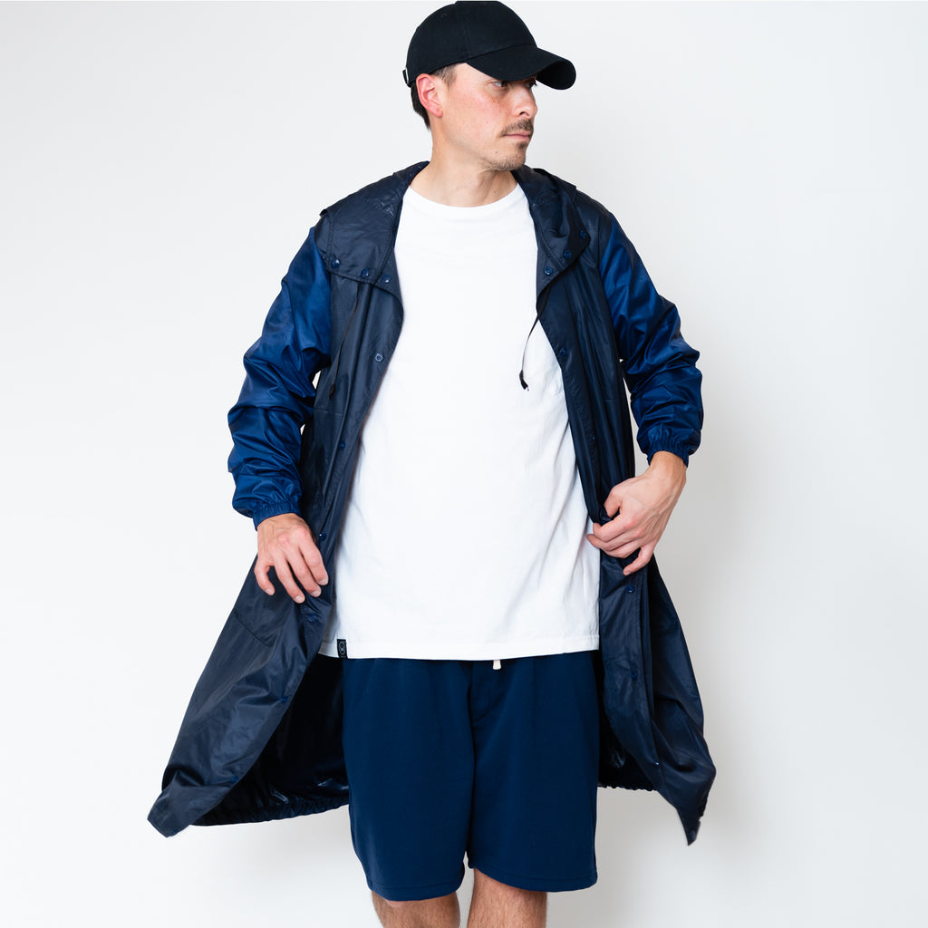 POCKETABLE NYLON UTILITY COAT [NAVY/KAHKI]