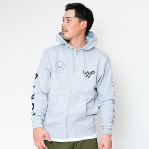 LOGO ZIPUP SWEAT PARKER [GRAY/WHITE]