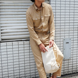 HOODED JUMPSUIT [SAX/DENIM/BEIGE/KHAKI]
