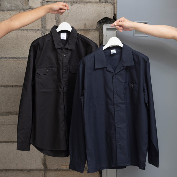LOGO EMBROIDERY WORK SHIRTS [NAVY/BLACK]