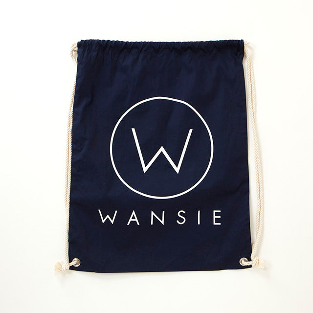 WANSIE LOGO COTTON BAG [BLACK/NATURAL/NAVY]