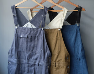 BICOLOR OVERALL [STRIPE/DENIM/CAMEL]