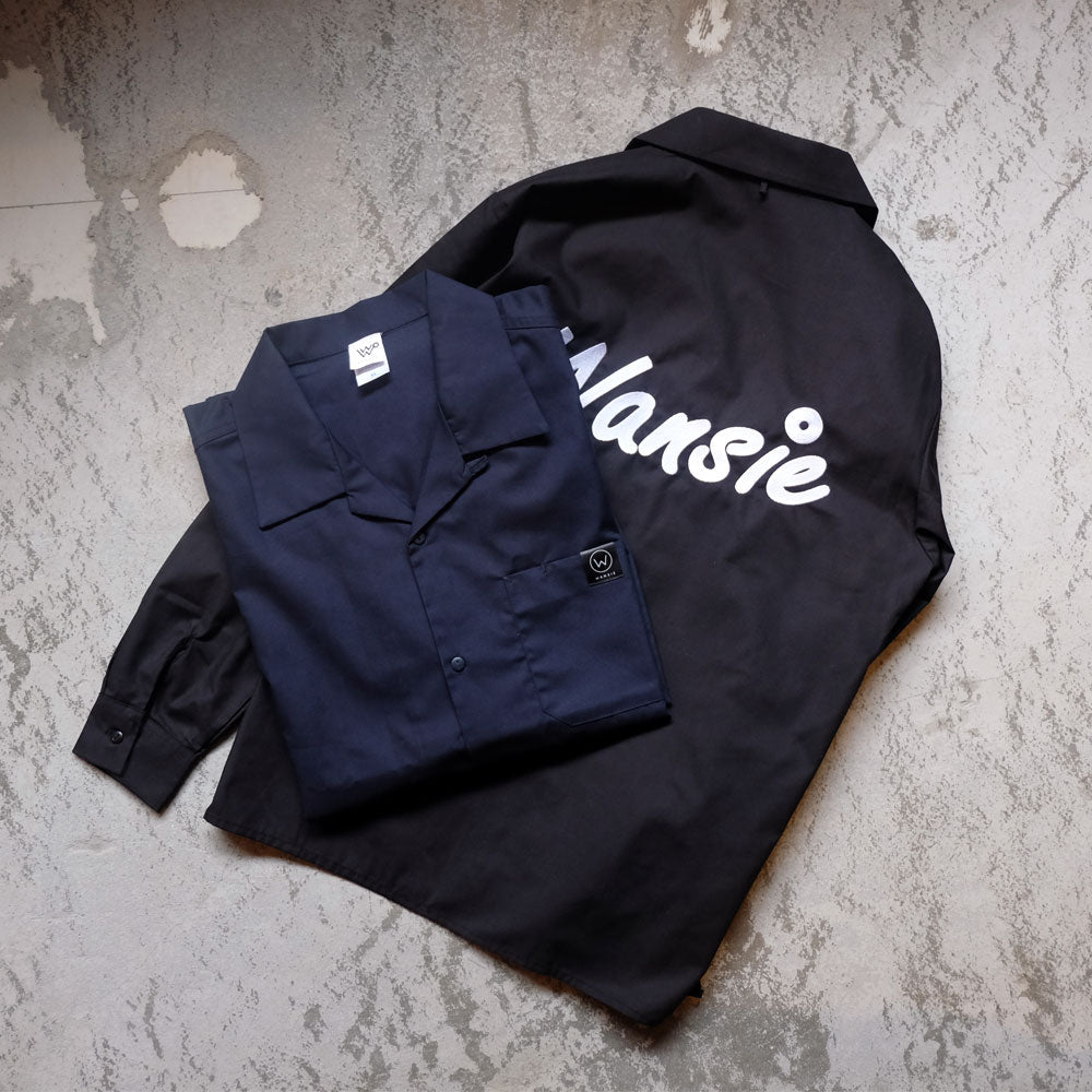 LOGO EMBROIDERY OPEN COLLER SHIRTS [NAVY/BLACK]