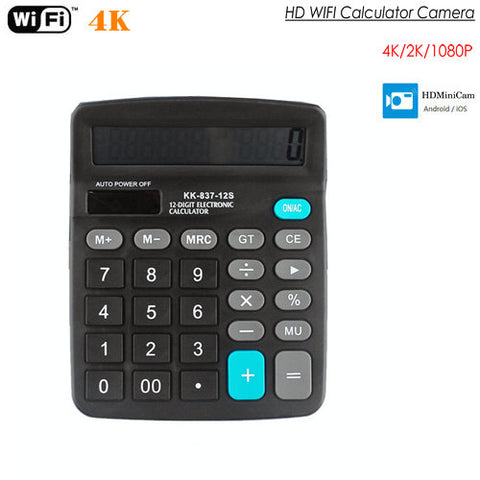 4K WIFI Spy Camera Calculator supports up to 128GB storage