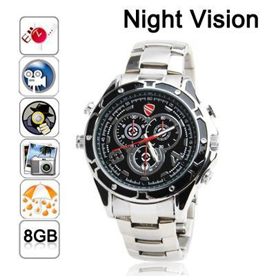 Full HD 1080P IR Night Vision Spy Watch 8gb DVR Camera with Voice Control -0350
