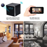 Square Wireless HD Alarm Clock Hidden Camera with Motion Detection P2P WiFi IP