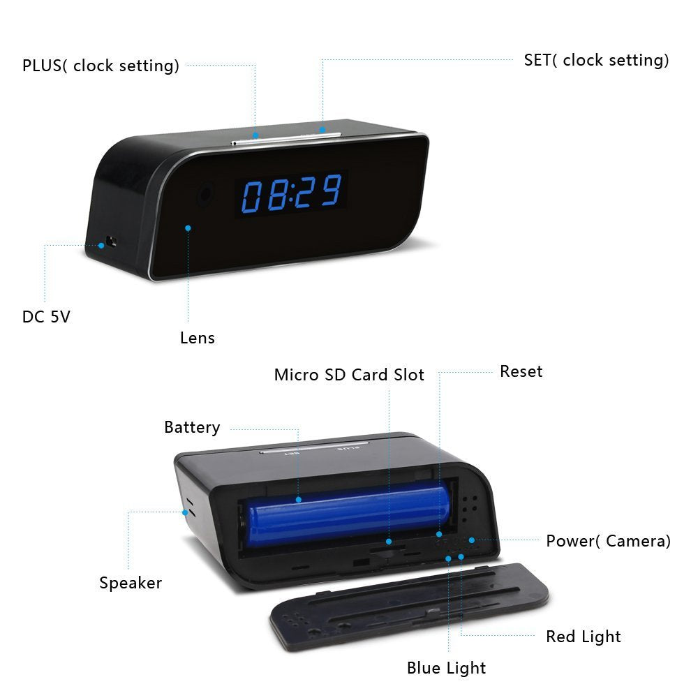 Wireless HD Clock Hidden Camera with Motion Detection P2P