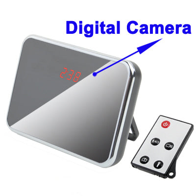 Mirror effect Digital Spy Camera Clock with Remote Control and Sound Detection