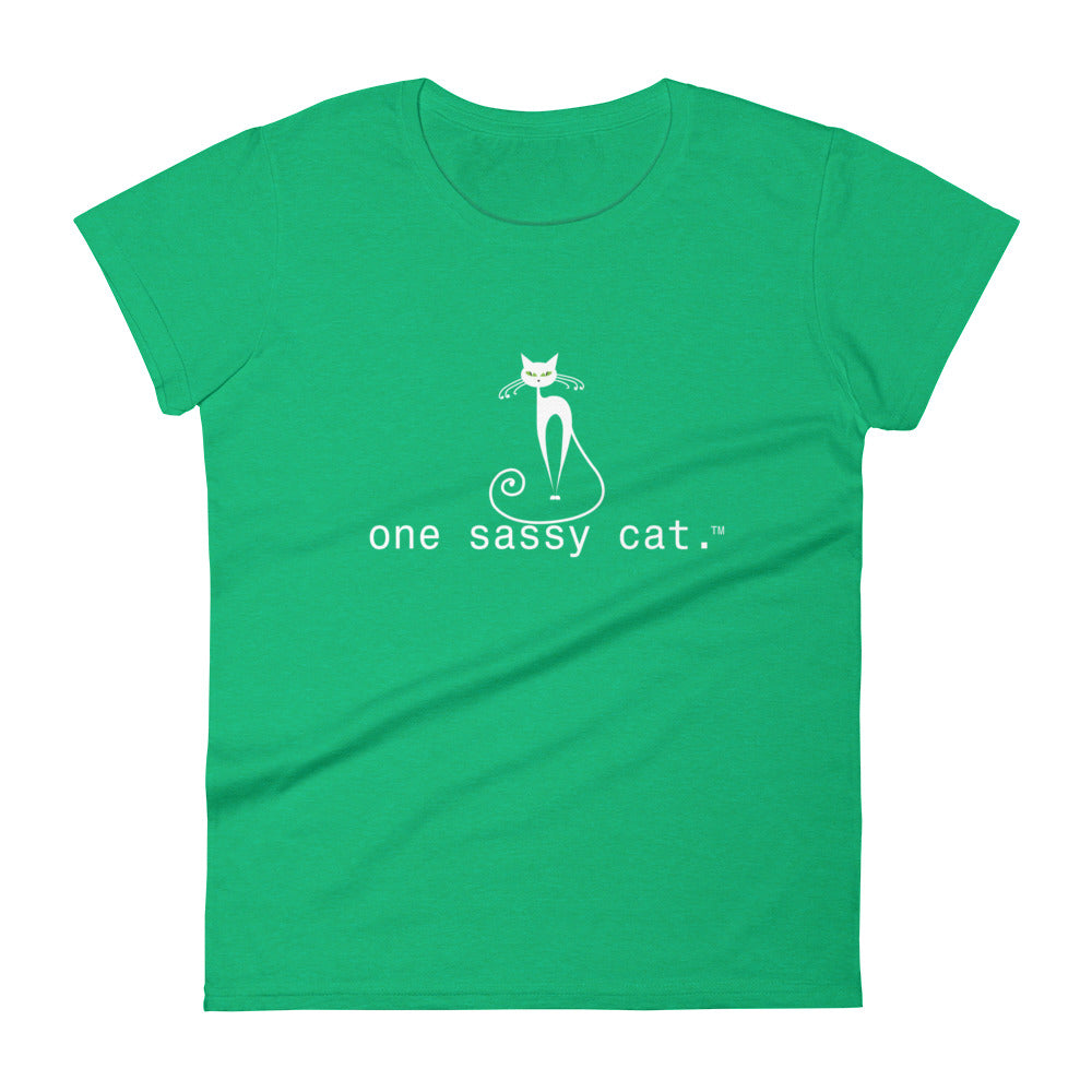 Women's Short Sleeve T-Shirt-one sassy cat.