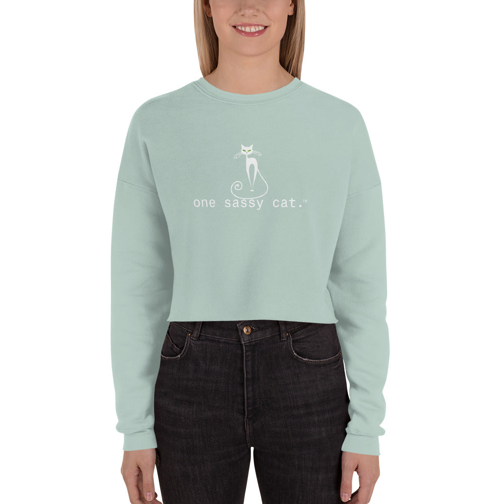 Crop Sweatshirt- one sassy cat.