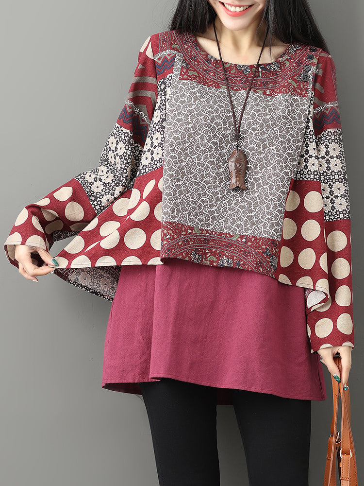 Gracila Casual Printed Double Layered Blouse