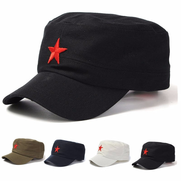 Unisex  Red Star Cotton Army Cadet Military Cap Adjustable Hat