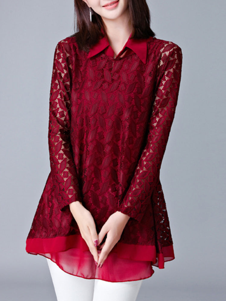 Women Crochet Lace Hollow Out Blouse