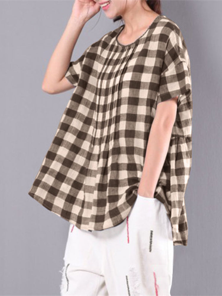 M-6XL Women Plaid Baggy Blouse