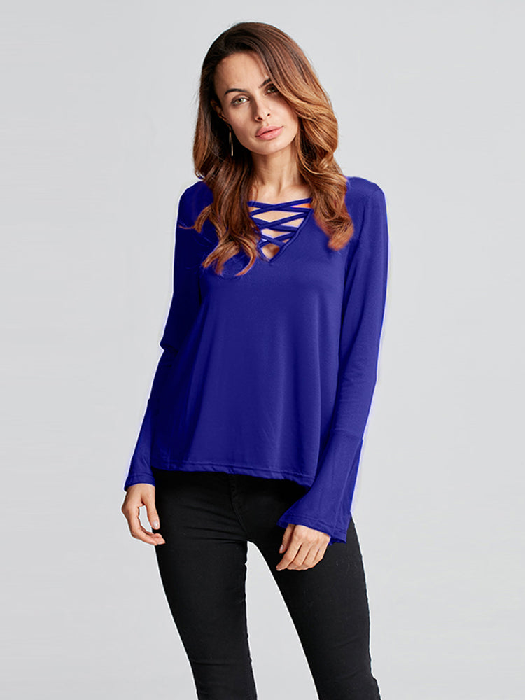 Zanzea Women Bell Long Sleeve Casual V-Neck Tops T-shirts