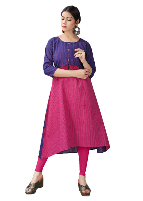 Minsk Blue and Cranberry Pink handloom kurti