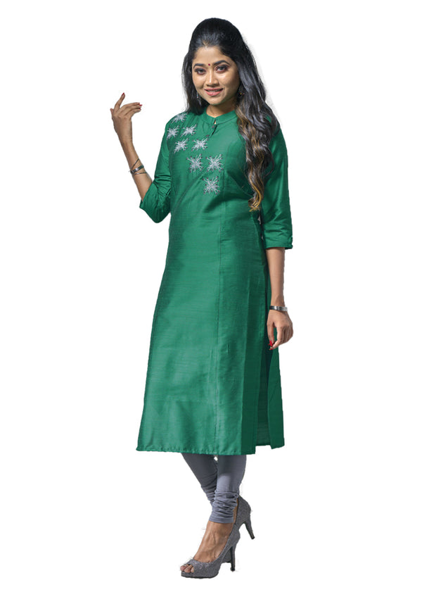 Genoa Green silky slub kurti with thread works