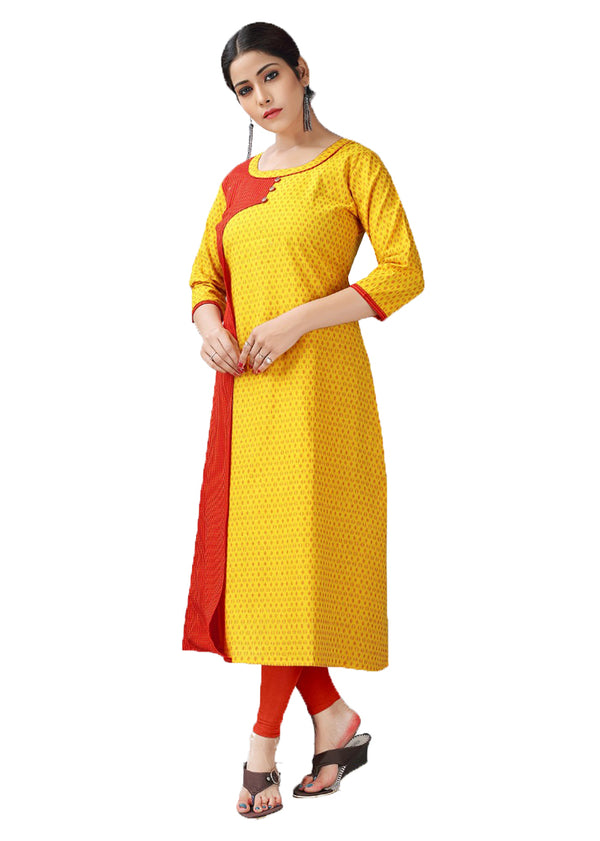 Sunflower Yellow and Punch Red handloom kurti