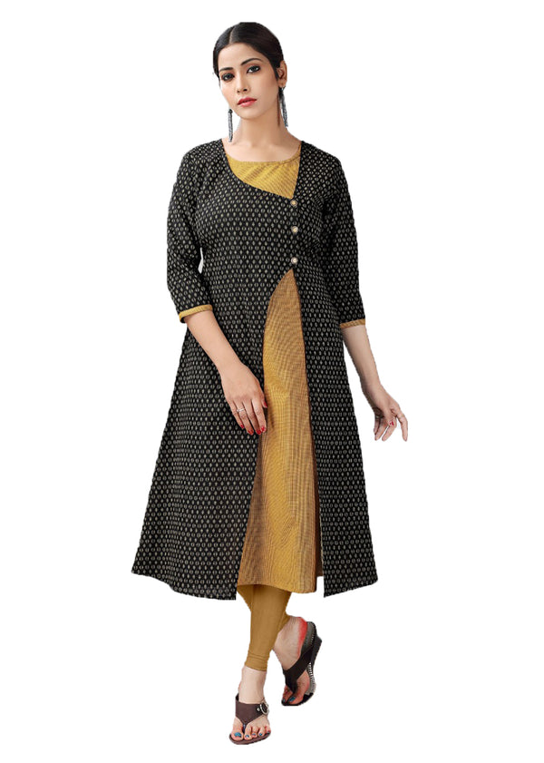 Black and Mustard Yellow handloom kurti